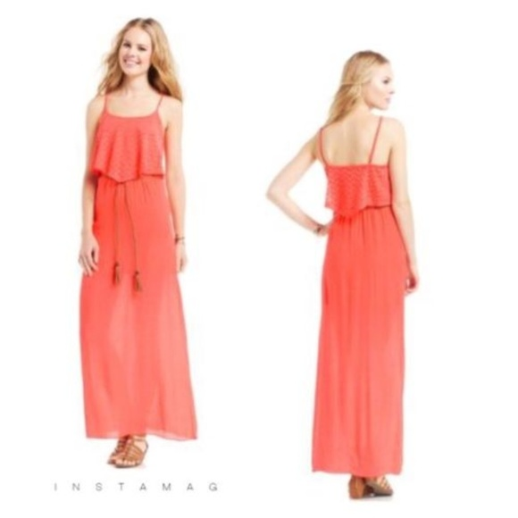 044787e54d6 TRIXXI JUNIOR S POPOVER MAXI DRESS CORAL